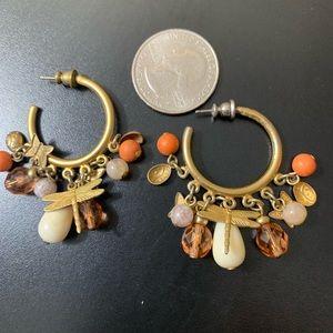 Vintage Goldtone Beaded Pierced Hoops